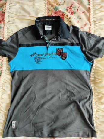 Koszulka polo męska XXL Comeor szaro-niebieska