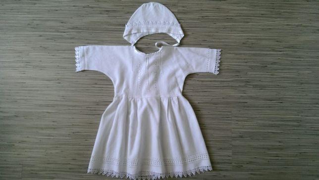 Крестильное платье с шапочкой