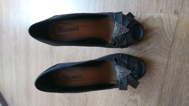 Туфли серые из эко замши нарядные на высоком каблуке