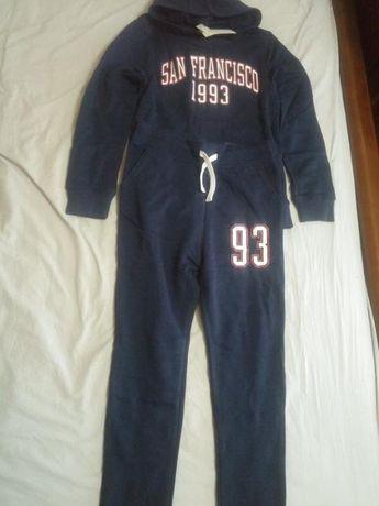Утепленный фирменный синий спортивный костюм н&m 8-10 лет