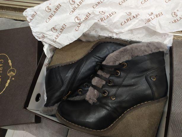 Кожаные ботинки, внутри натуральная цигейка,37 р., идеальное состояние