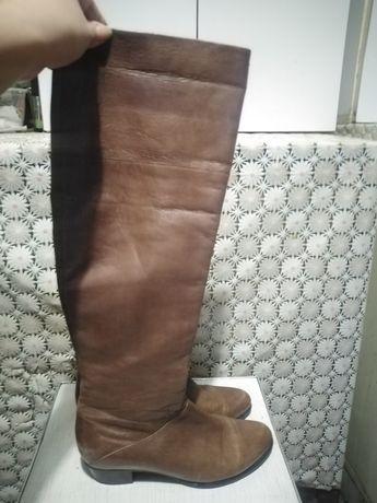 Демисезонные кожаные сапоги ботфорты tj collection