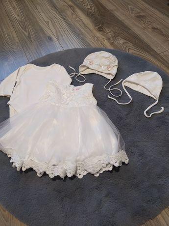 Zestaw na chrzest, sukienka, czapki i body