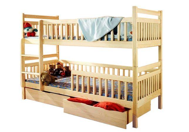 Кровать двухъярусная детская Том и Джери Люкс из массива бука.