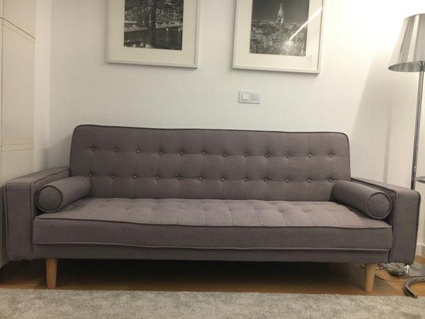 SOFÁ-CAMA estilo Nórdico Vintage (Sofá cama 3 lugares semi-NOVO)