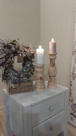 Świeczniki drewniane toczone na stół weselny dekoracja