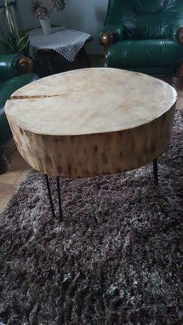 Duży stolik kawowy, plaster drewna, loft, prezent