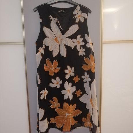 Czarna zwiewna sukienka w kwiaty F&F