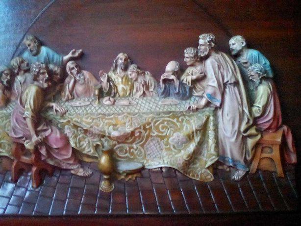 A ultima Seia de Jesus c/seus apóstolos quadro em Marfinite em relêvo