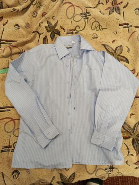 Рубашка нежно голубого цвета в белую полоску