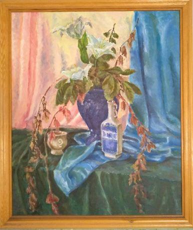 """Картина маслом """"Натюрморт с лилиями"""" 50х60 см, 2008 г."""