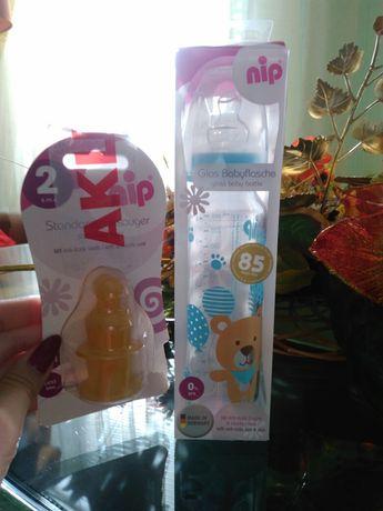 Бутылочка+соски nip, бутылочка, бутылка, стекло, для кормления