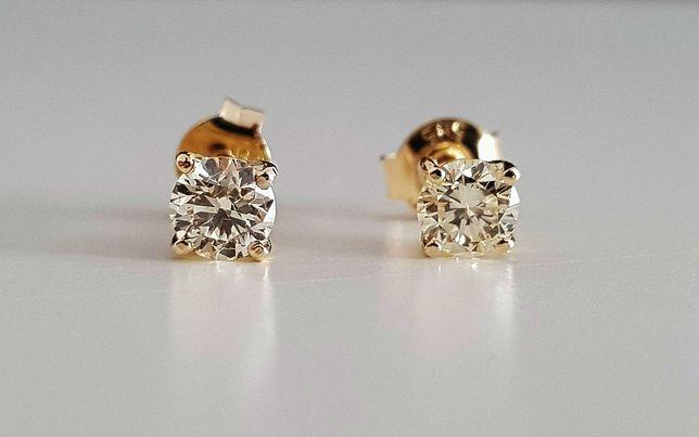 Złote kolczyki z brylantami 0.67ct VVS2!! Barwa I i K Przepiękne !