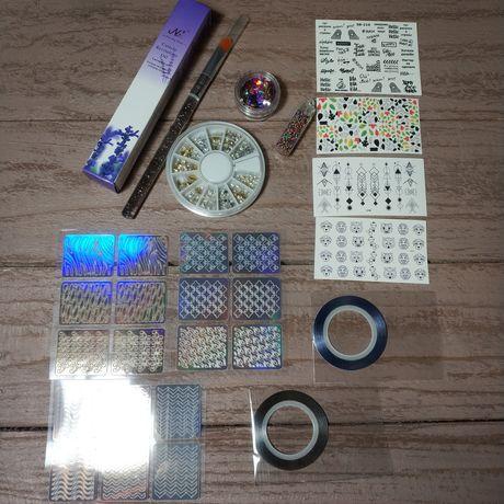Набор для дизайна маникюра конфети,масло,кисточка,бульонки,наклейки