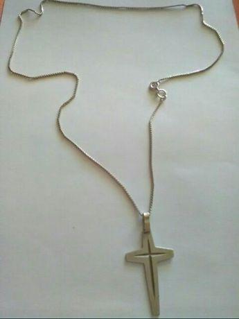 Łańcuszek, krzyżyk srebro 925