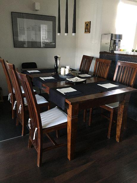 Krzesła kolonialne i stół inne meble - tek teak - komplet 6 szt