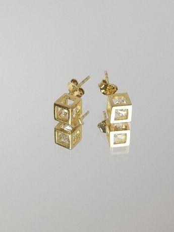Nowe Złote Kolczyki 333 2,11 KOSTKI 3D Z CYRKONIĄ