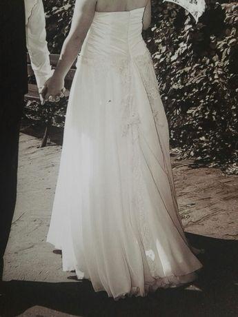 Suknia ślubna XL muślin koronki gorset lejąca się 42/44