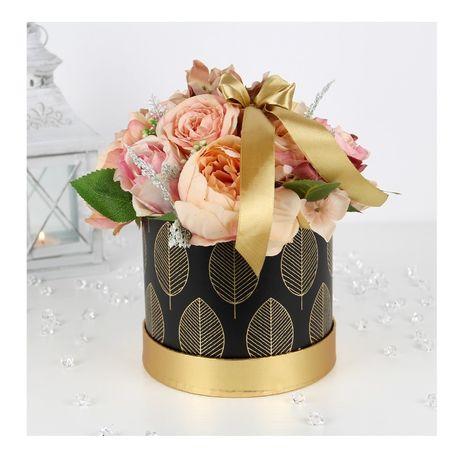Duży BUKIET w pudełku BOX MIX pastelowych kwiatów Dzień BABCI
