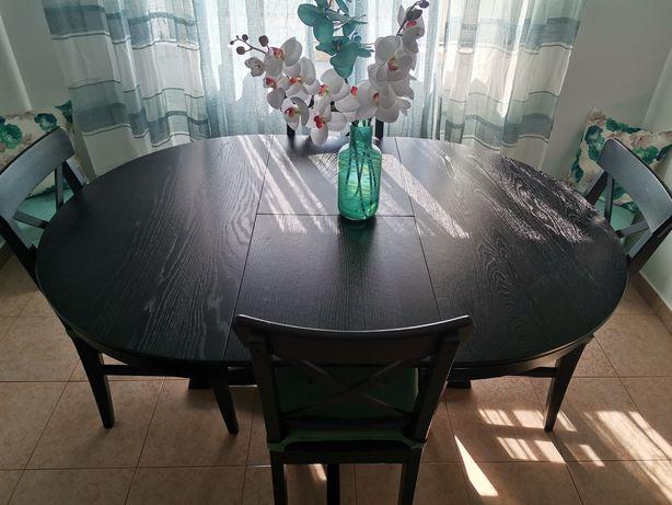 Mesa de refeições redonda extensível com 4 cadeiras PREÇO FIXO
