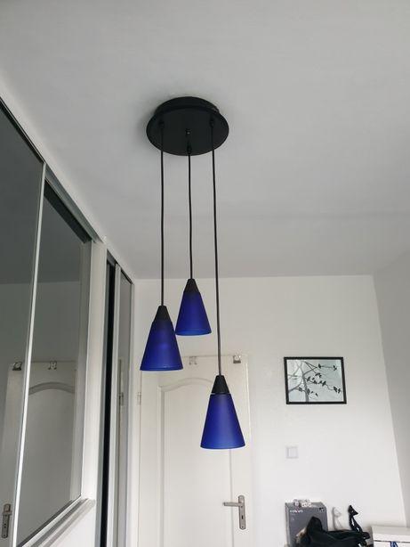 Lampa wisząca chabrowa, niebieska. Kinkiet. Lampka