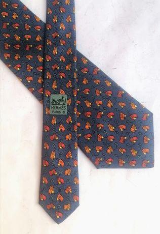 Hermès Кентукки Дерби Принт 7357 PA print Мужской шелковый галстук