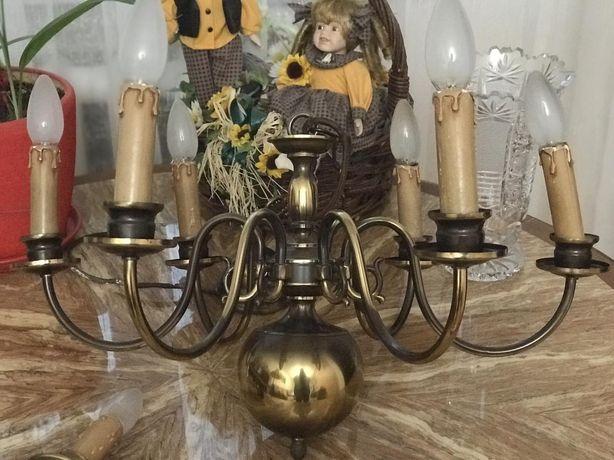 Люстра латунь бронза 6 рожков 5 свечей бра