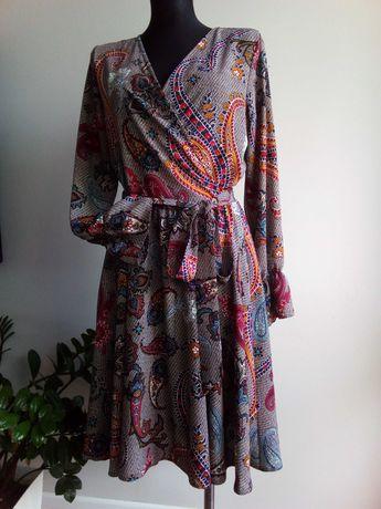 Nowa sukienka kopertowa 36. Długi rękaw
