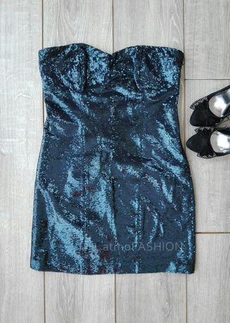 New look granatowa sukienka cekiny hit disco karnawał studniówka L 40