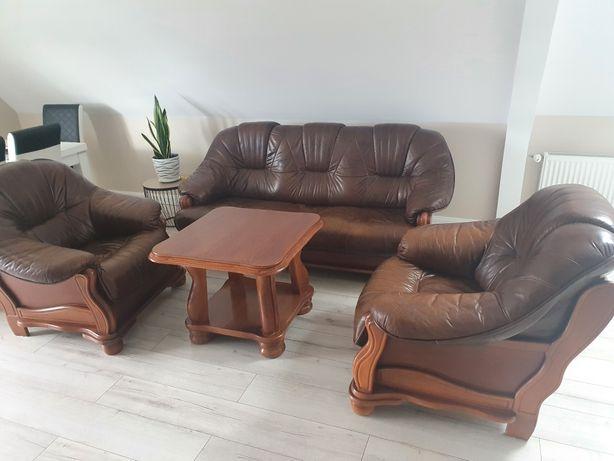Komplet wypoczynkowy skóra naturalna plus stolik