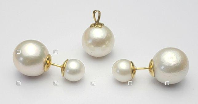 Набор жемчуг, серьги, кулон, золото 585
