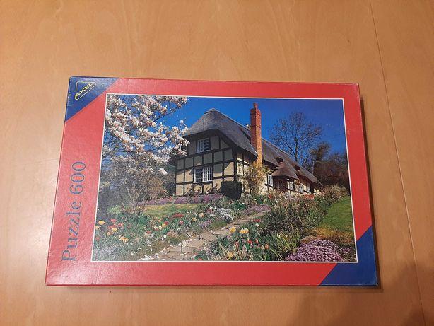 Puzzle 600 elementów, wiejski domek, firma Axel