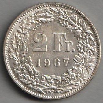 moneta Szwajcaria 2 franki 1967 - srebro - stan menniczy -