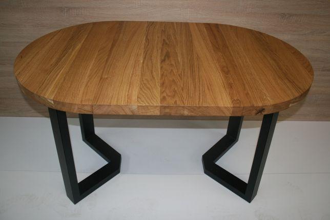 Stół okrągły dębowy rozkładany (lity dąb) Loft
