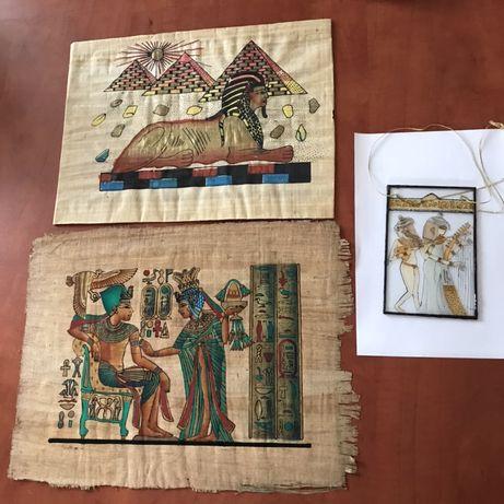 Kpl ozdób w stylu egipskim - witrażyk + 2 papirusy