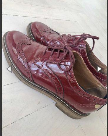 Туфли лоферы Tommy Hilfiger 38 бордовые кожаные