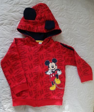 Bluza Myszka Miki z kapturem czerwona rozmiar 92.