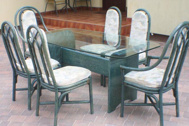 stół krzesło krzesła meble bambus