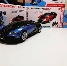 Поворачивает на 360, трансформер - машинка Bugatti Veyron: 2 в 1