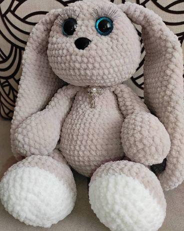 Мягкая плюшевая игрушка зайчик заяц корова коровка  ручная работа