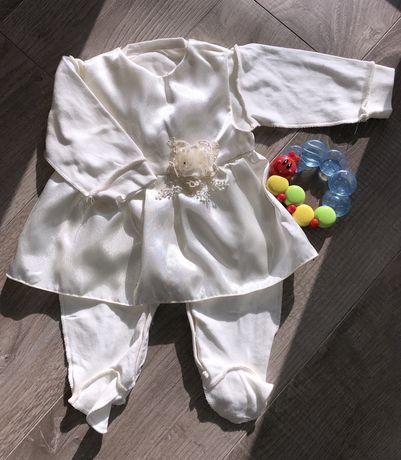 Нарядный набор костюм для девочки 0-3 месяца на крестины