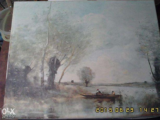 """Tela de Camille Carot """"La pesca in barca vicino ai salici"""""""