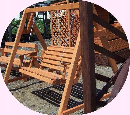 Huśtawka Ogrodowa drewniana Limanowa Huśtawki Stelaż Ławka