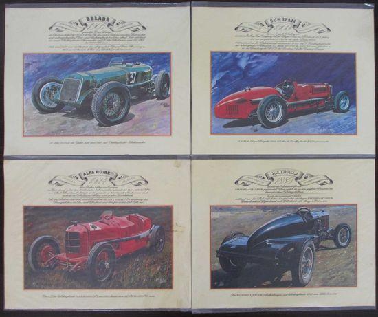10 gravuras de automóveis clássicos de competição