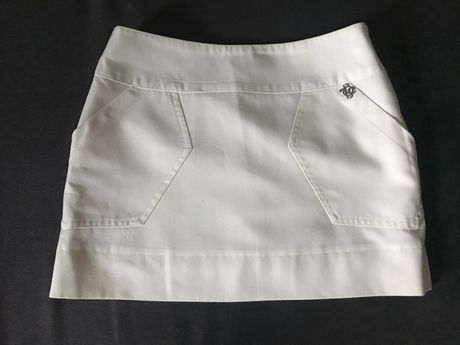 Короткая молочная юбка из шерсти