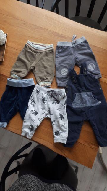 Spodnie 5 par, ogrodniczki dresowe, bawełniane 62, 68