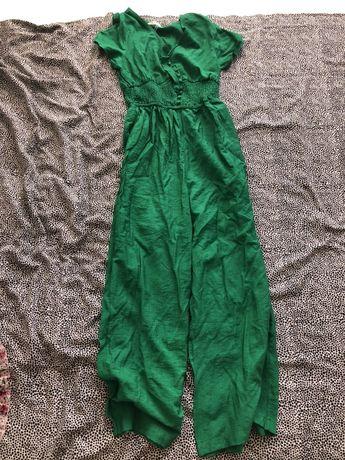 Kombinezon długi szerokie nogawki m s nowy zielony lato