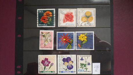 znaczki polskie, kwiaty 9 szt