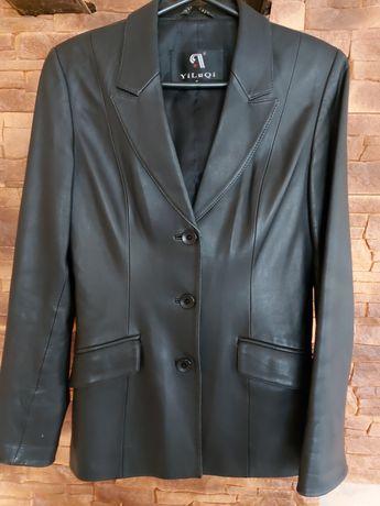 Кожаный пиджак 44 размер