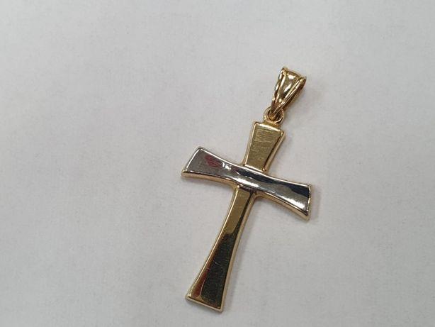 Piękny złoty krzyżyk męski/ Żółte + białe/ 585. 1.2 gram/ sklep Gdynia